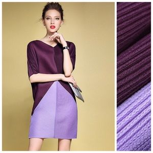 Dresses & Skirts - 🥀Purple Color Block Accordion Pleated Dress